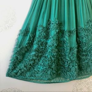 Vintage, Lush Green Silk Dress with Lacework